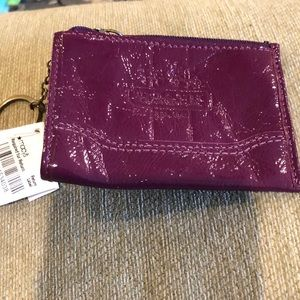 NWT Coach Patent Leather Plum Coin Purse/ID holder